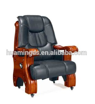 Boss Traditional Black leather Guest Chair Mahogany