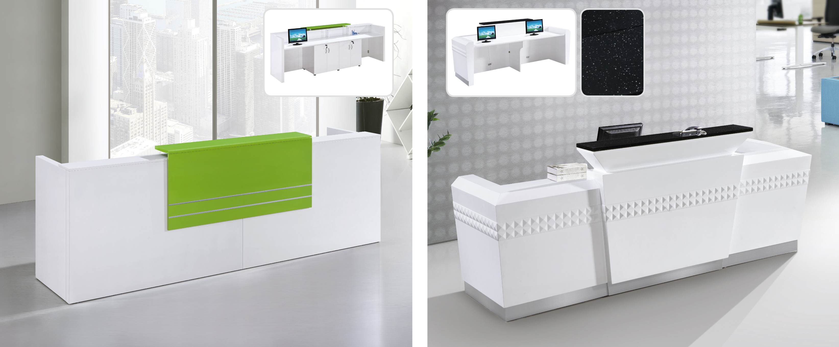 White Tufted Nail Salon Beauty Reception Desk