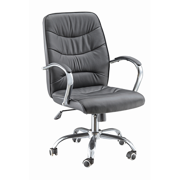 2017 New design top quality grey leather revolving office chair with armrest