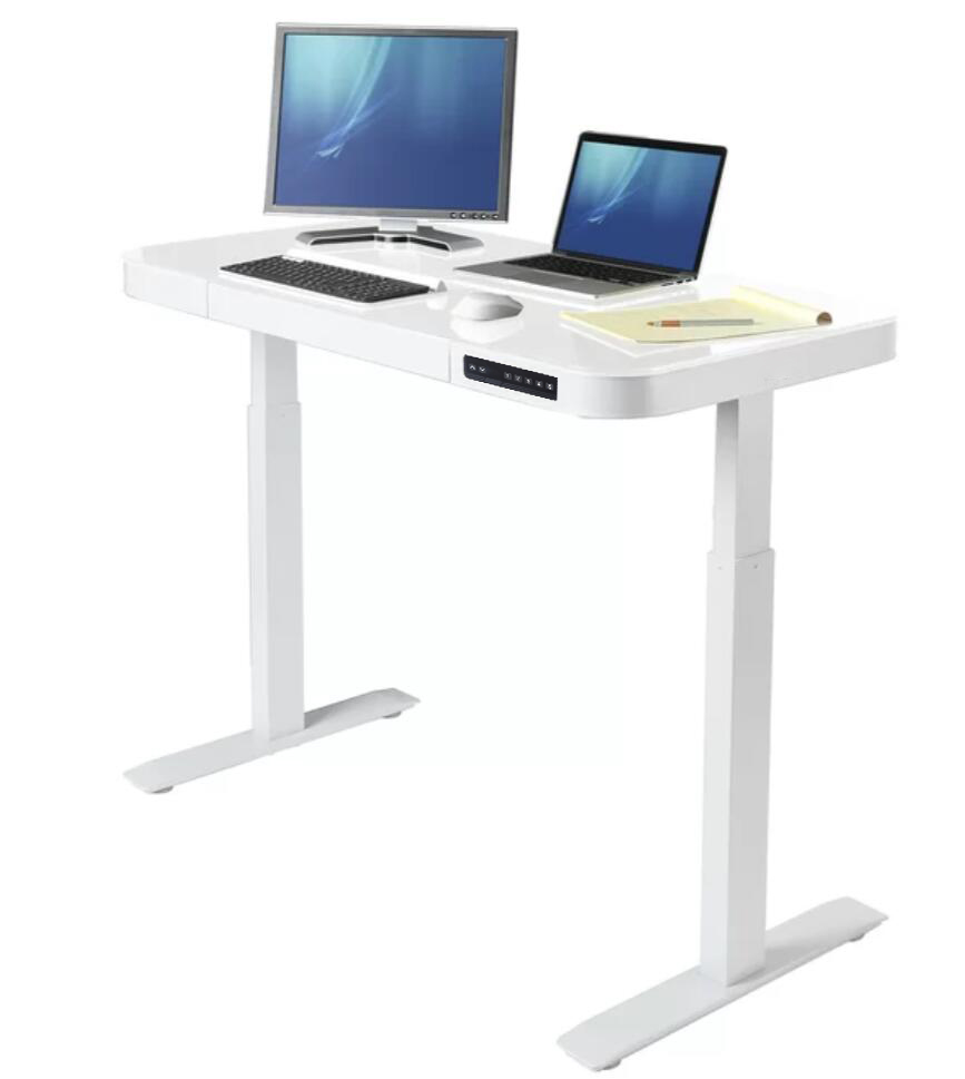 New Design Tempered Glass Electric Stand Desk With 8mm Tempered Glass