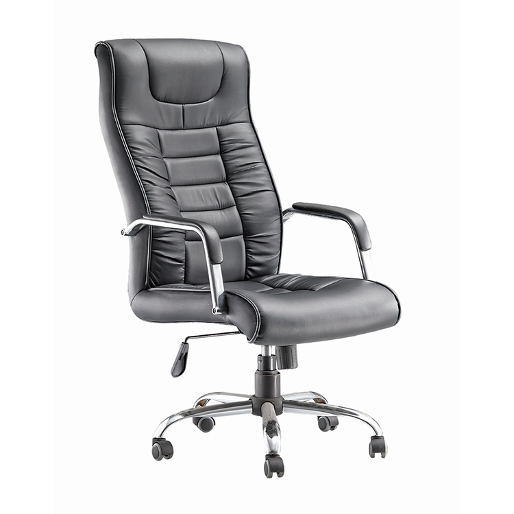 Simple style and comfortable black leather office swivel chair