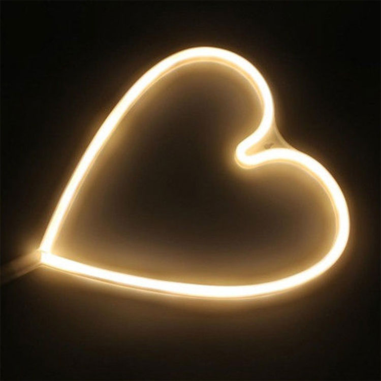 2018 New Products Color Changing Dimmable Led Rope Light With Heart Shape