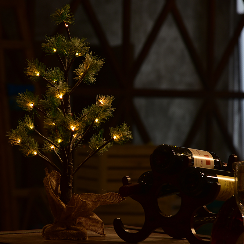 3*AA battery 60cm 24led brown PVC Pine needle snow led Christmas tree light warm white with brown cl