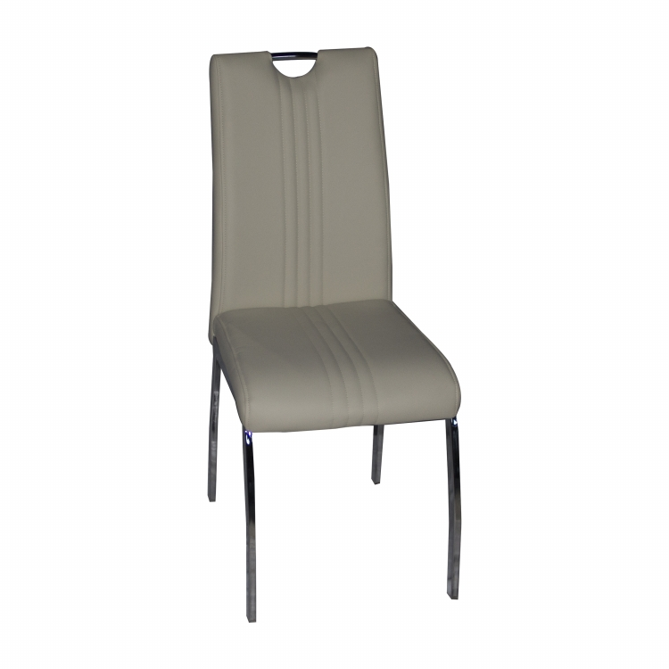 Most Popular Design Black line leather upholstered four chrome metal legs Dining chair