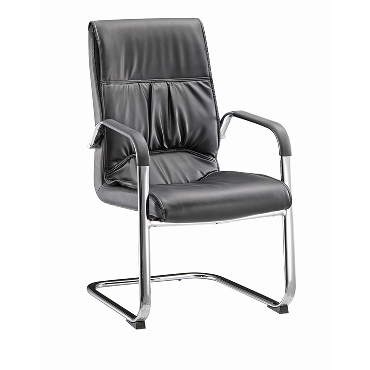 Top quality black pu leather Z shape office chair with electroplate leg