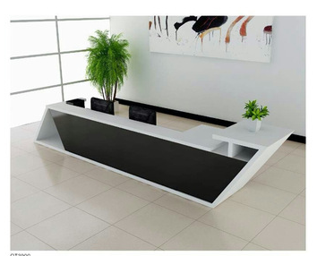 Diamond-shape black reception desk QT3900 for hotel