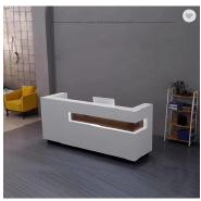 Modern white salon reception counter with led light reception desk