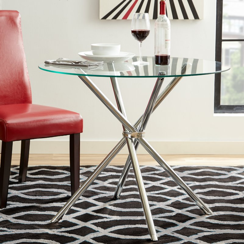 round glass top metal leg dining table