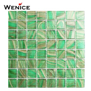 Made in china hot selling swimming pool edge tile decoration glass mosaic sports center pools