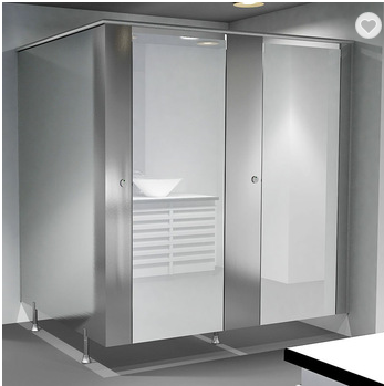 High end glass compact hpl toilet partition from singapore