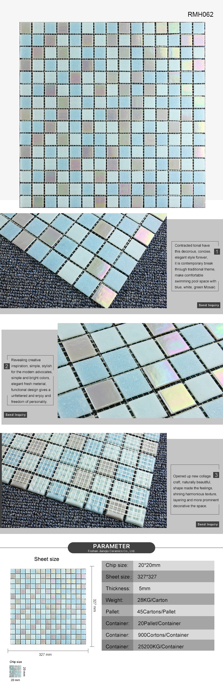 Foshan washable glass mosaic tiling fish pond