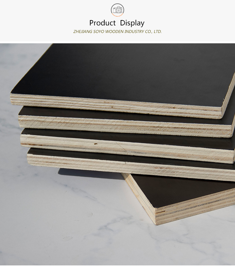 Cheap high quality 100% poplar waterproof black film faced plywood