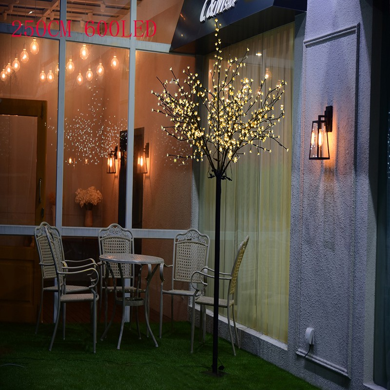 250CM,600LED CE &Rohs approved LED cherry christmas tree light with sakura decoration for party decoration with base