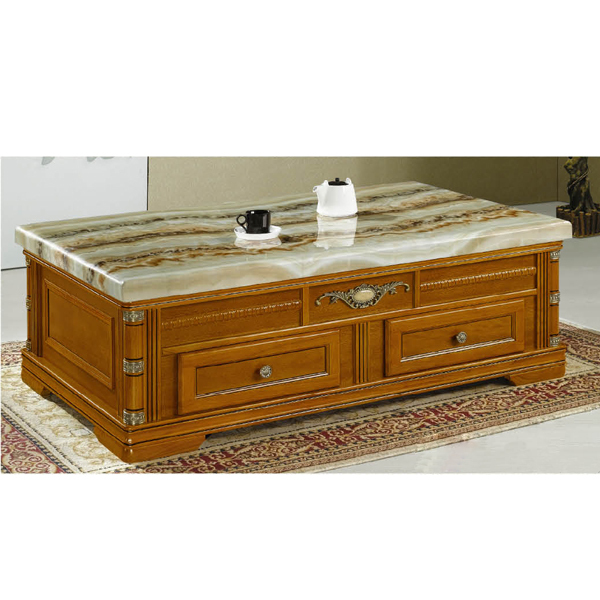 Antique wooden coffee table with marble top