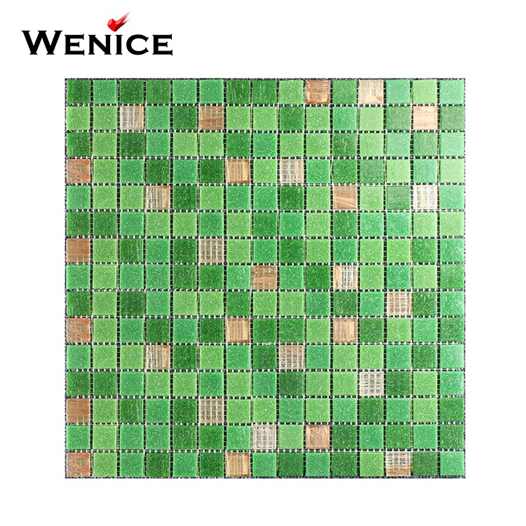 Hot sale 5mm thickness green decoration glass mosaic for swimming pool tile
