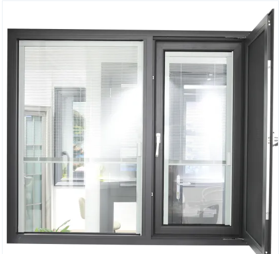 Insulated Aluminum Casement Window with Blinds Inside