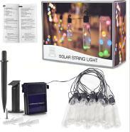 Waterproof LED Outdoor Solar String Lights, 24 Ft UL listed Backyard Patio Lights Outdoor String Lig