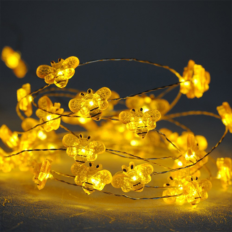Bee Shape Theme LED Lights String on Flexible Copper Wire