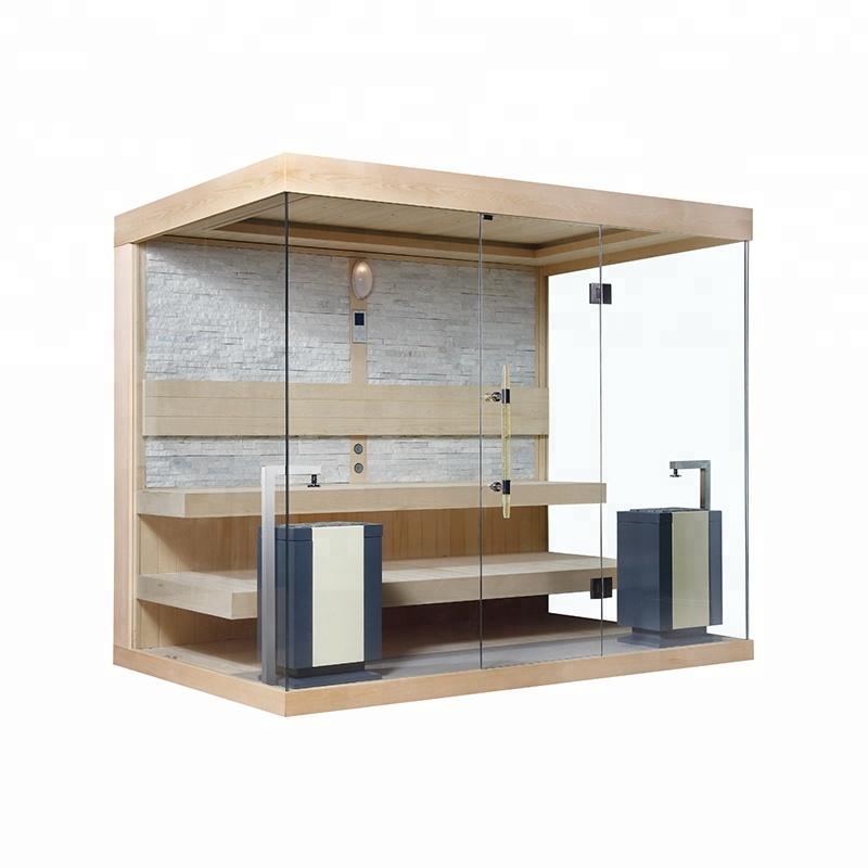 Hot sale unique design Ozone imported wood full glass door steam sauna room