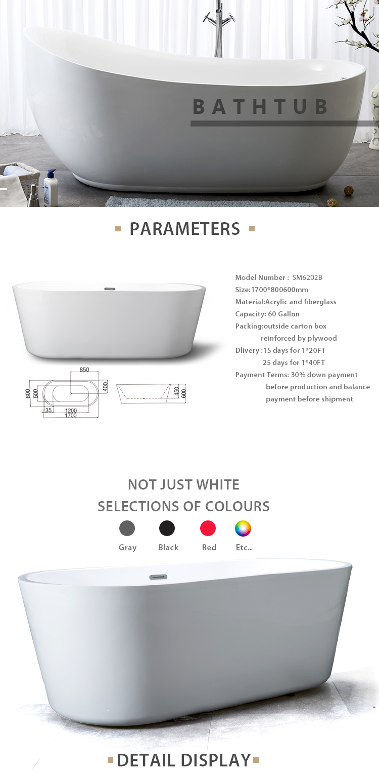 SM6202B Best Sanitary ware transparent free standing cheap Acrylic bathtub