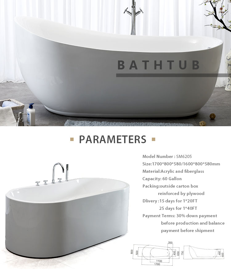 SM6205 Wholesale bathing materials Contemporary Acrylic whirlpool bathtubs