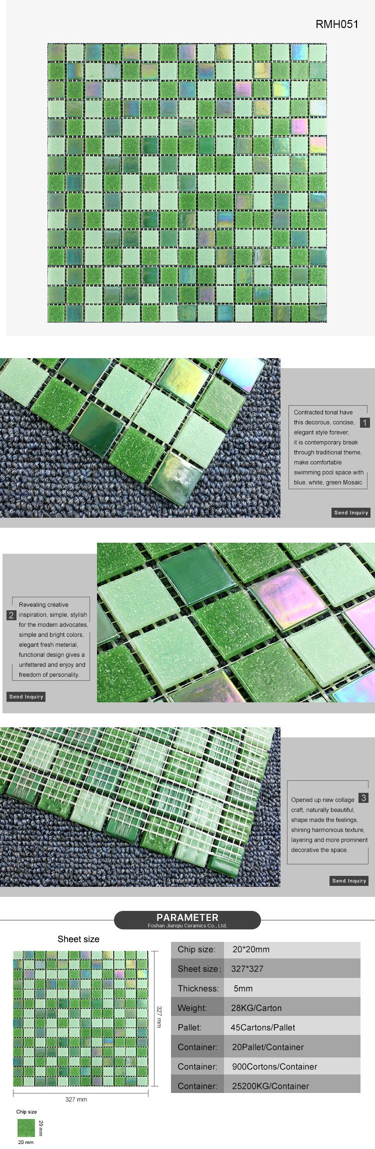 foshan top standard green resort pool decoration glass mosaic tile