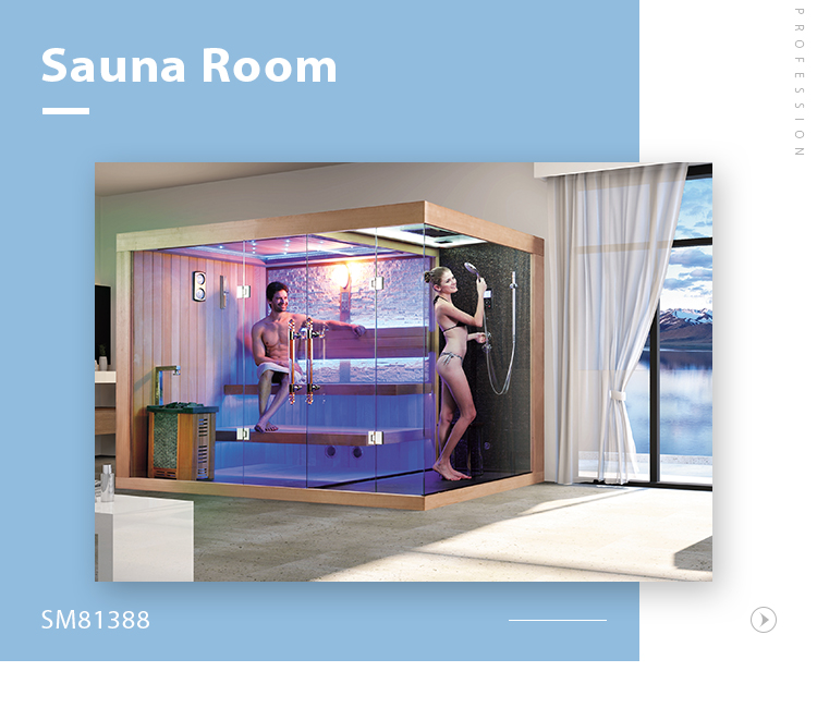 SM81388 Dry Wet combined Luxury solid wood steam sauna shower room