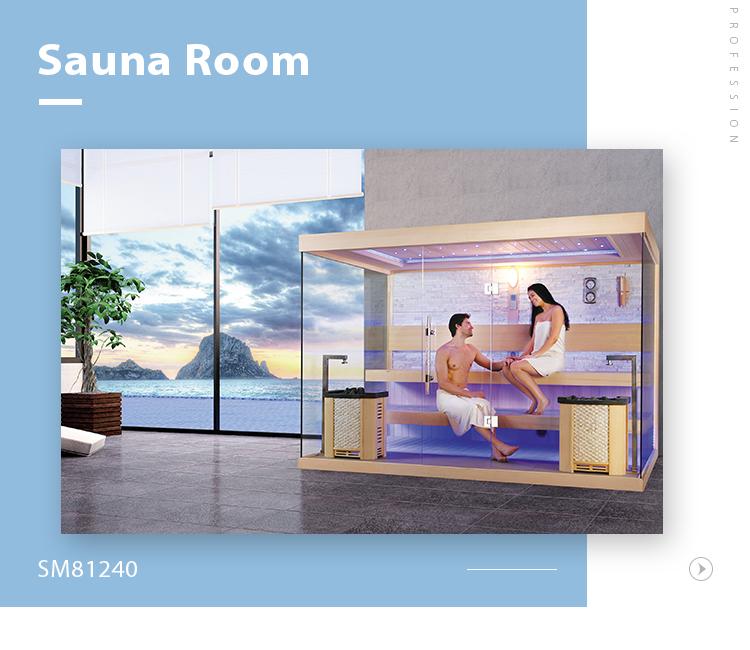 SM81240 Hot sale unique design Ozone imported wood full glass door steam sauna room