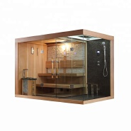 Dry Wet combined Luxury solid wood steam sauna shower room