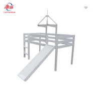 modern solid wood kids loft bed with tent