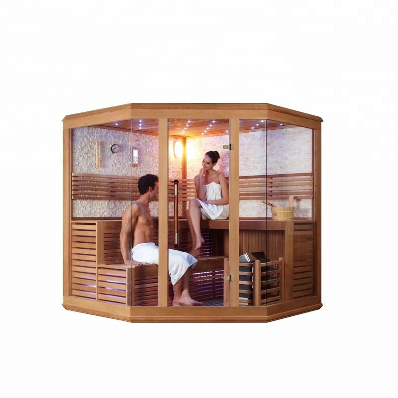 Magic product nature stone wall glass door sauna dry steam room