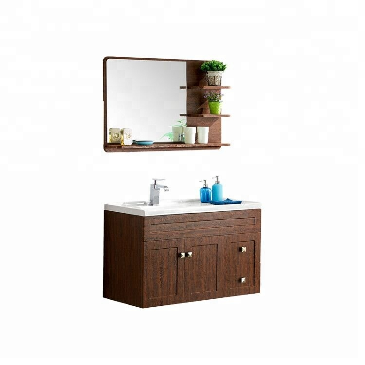 Ghana popular Foshan Ready made wall mounted hung plywood wooden toilet bathroom set vanities cabin