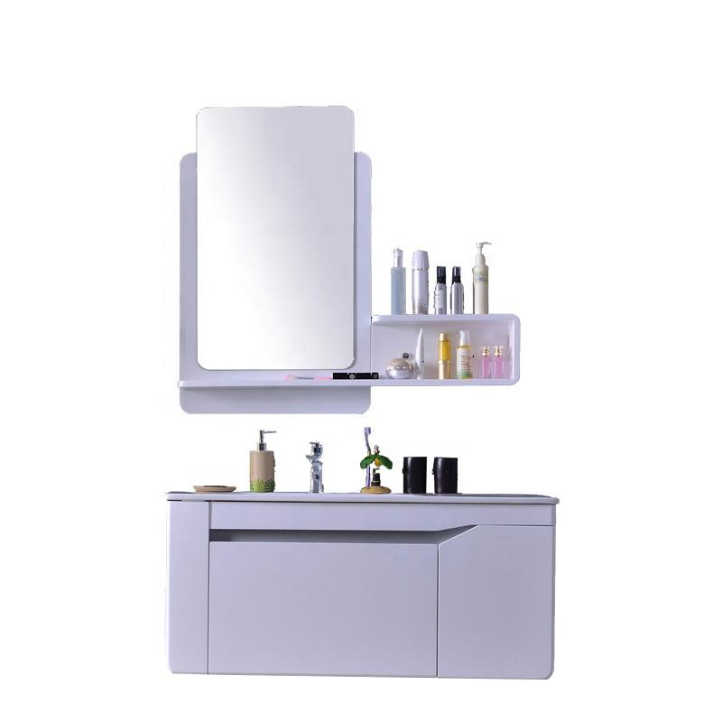 Malaysia style Modern designs 39 inch wall hung mounted one-body ceramic sink plywood bathroom cabin