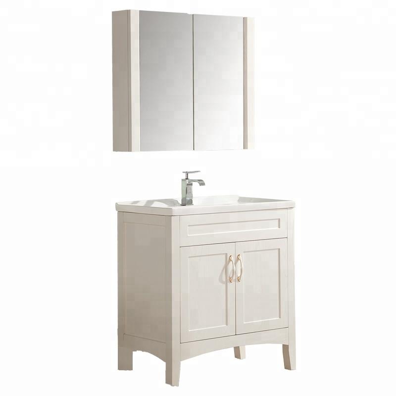 floor mount bathroom vanity double door shelf plywood material ceramics sink cabinet with mirror