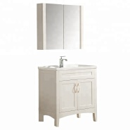 floor mount bathroom vanity double door shelf plywood material ceramics sink cabinet with mirror