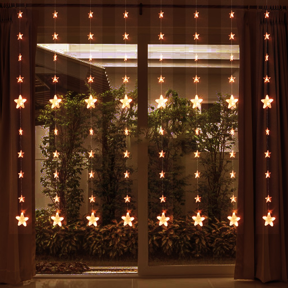 Star Lights  8hook 80 Stars Remote Control  Holiday Star String Lights