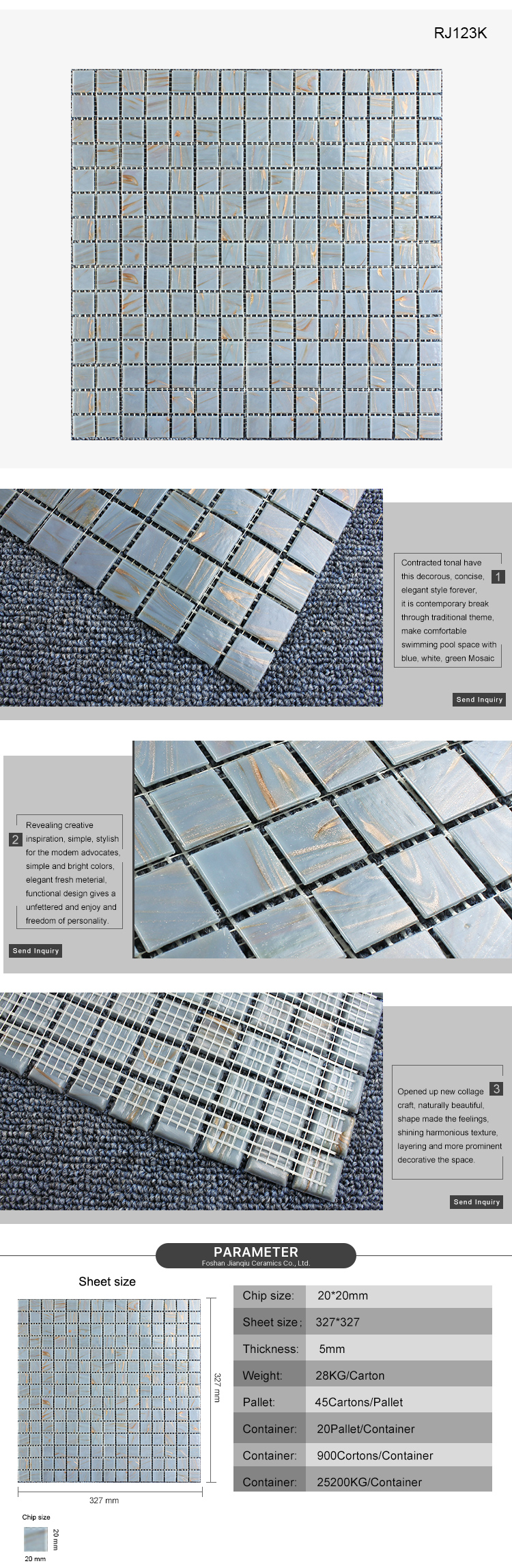 2019 New Arrival Customization building material gray wall tiles glass mosaic for porch