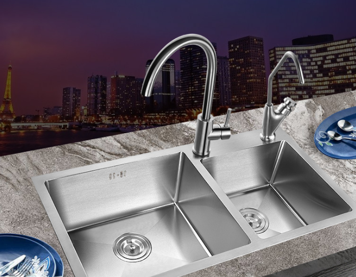 Factory direct sales of 304 stainless steel sink thickened kitchen dishwash basin 7843A set of manua
