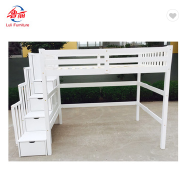 easy assembly children wooden bunk bed with stairs