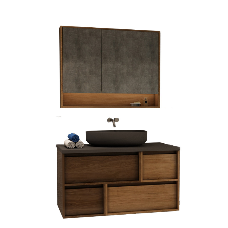 Contemporary commercial wall hung mounted plywood wooden black counter top basin bathroom unique dr