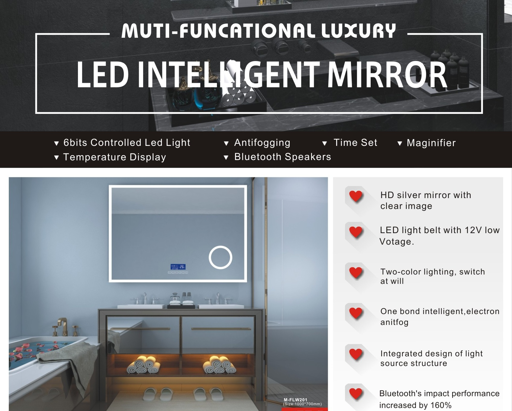 Hot Sales High Standard High Standard LED vanity mirror M-ALN301