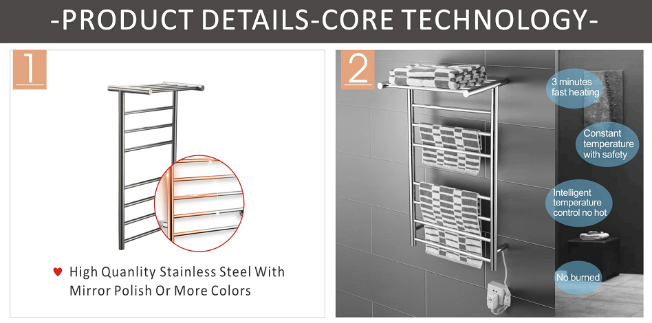 Hot Sell Hot Quality Fashionable Design heated towel rail HTR004-10R