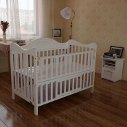 Modern wooden cot design eco-friendly white baby bed cot