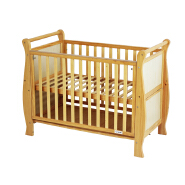 CJ-C014 Wooden baby bed Pine natural color baby cot with handle