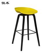 New Design Modern Restaurant Furniture Wooden Yellow Seat Bar Stool Chair