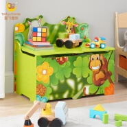 Toffy & Friends Kid's Jungle Wooden Storage Toy Box with Lid green