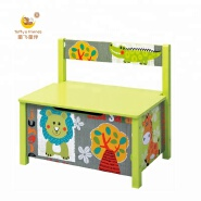 wooden toy box kids storage toy chest with back rest jungle monster design