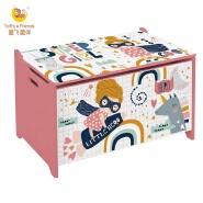 Toffy & Friends WATER PAINT wooden kids toy storage box in Super Girl design