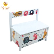 Toffy & Friends wooden toy box kids storage toy chest with back rest monster design