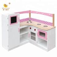 Wooden kids pretend play kitchen toy cabinet furniture
